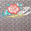 糸錦地バラの刺繍開き名古屋帯 前柄