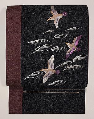 波にチドリの刺繍名古屋帯