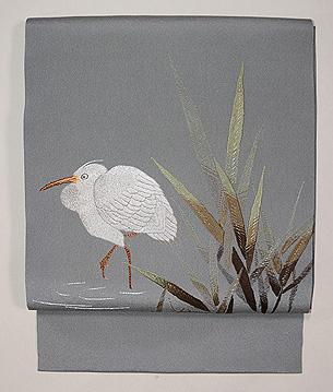 葦原に白鷺の刺繍名古屋帯