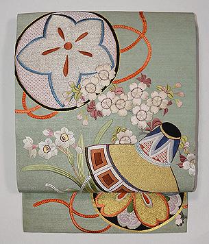 市女笠に桜の刺繍名古屋帯