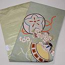 市女笠に桜の刺繍名古屋帯 帯裏