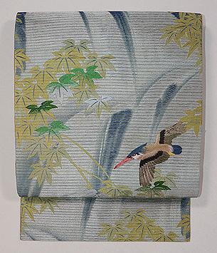 流れにカワセミの刺繍名古屋帯