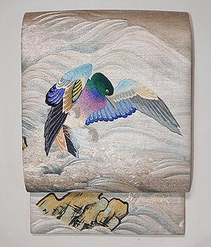 波に鴨刺繍の袋帯