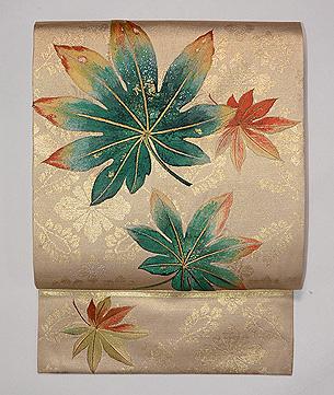 楓散らし刺繍名古屋帯