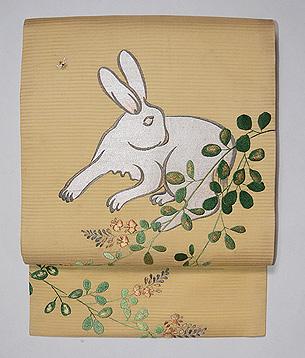 萩に白兎の刺繍名古屋帯