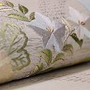 秋野の花の刺繍名古屋帯 質感・風合