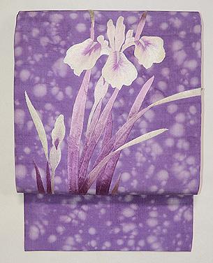 菖蒲の刺繍名古屋帯