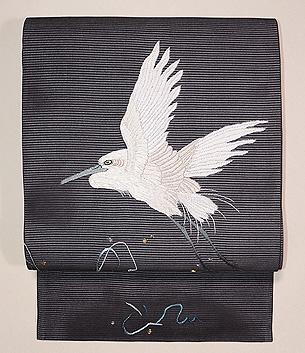 墨色波に白鷺刺繍の名古屋帯