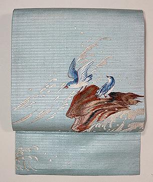 波千鳥の刺繍名古屋帯