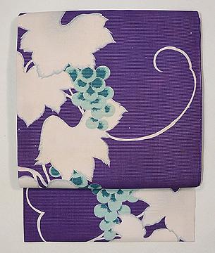 紫地青ぶどうの名古屋帯