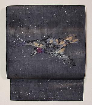 鴉刺繍の名古屋帯