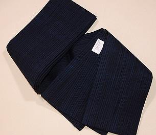浦野理一作 藍縞縦節紬半巾帯