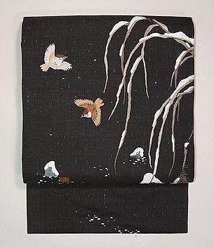 雪持ち柳に雀の名古屋帯