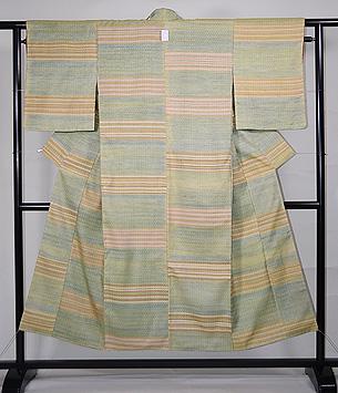 浮き織り緯縞文様紬袷