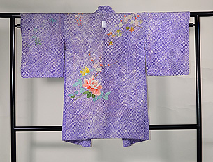 疋田に春花の刺繍羽織