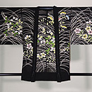 紋紗黒地に女郎花、撫子、萩の単衣羽織 正面