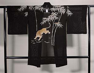 竹林に虎の図絽ちりめん単衣羽織