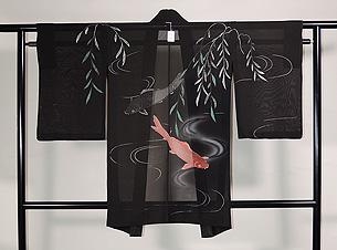柳に流水と鯉の紋紗単衣羽織