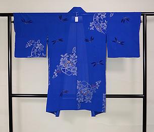 ブルー地花籠にトンボの単衣羽織