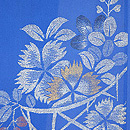 ブルー地花籠にトンボの単衣羽織 質感・風合