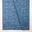 団扇と小花の型染め藍小千谷縮 上前