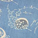 団扇と小花の型染め藍小千谷縮 質感・風合