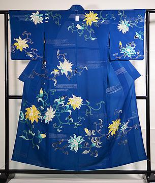 牡丹唐草紋様ブルーの単衣訪問着