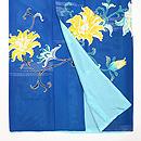 牡丹唐草紋様ブルーの単衣訪問着 上前