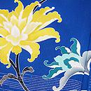 牡丹唐草紋様ブルーの単衣訪問着 質感・風合