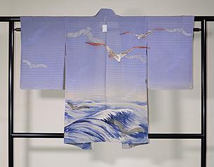 波にカモメ文様単衣羽織