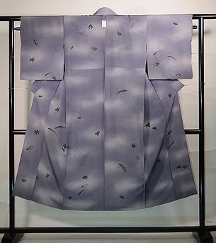 青紅葉に鮎の単衣小紋