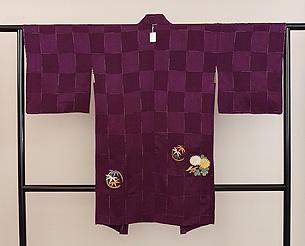 紫地花丸文様刺繍羽織