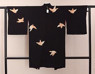 黒地雀の羽織
