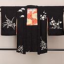 黒地春の花文様絞りの羽織 正面