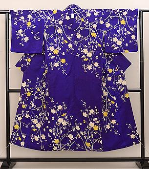 紫地桜の小紋