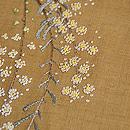 ミモザの刺繍辛子色の紬 質感・風合