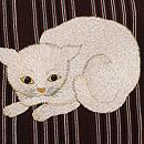 縮緬縞に猫とバラ付下 質感・風合
