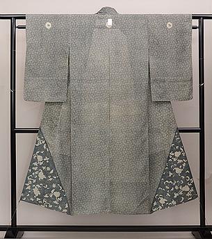 両裾文様絽の江戸小紋