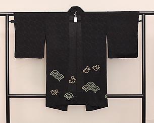 青海波と千鳥、紋錦紗の単衣羽織