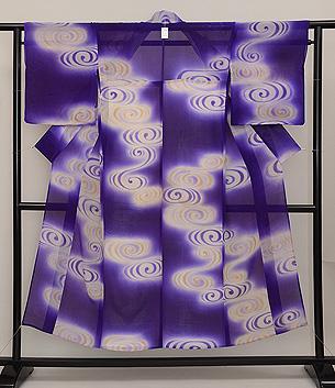 花紫に水輪の単衣小紋