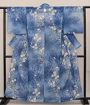 笹と撫子の小紋単衣