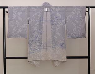 萩と波文様の単衣羽織