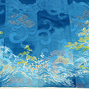 青色地風景文様付下 質感・風合