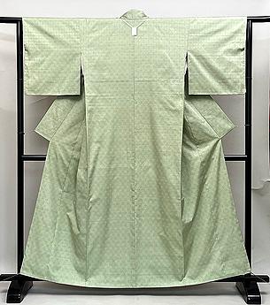 白緑色石畳文様紬袷 もとじ製