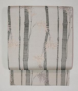 白地黒竹の名古屋帯
