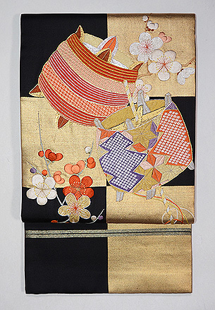 市松に糸巻きの袋帯
