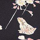 桜吹雪にカエルの黒地名古屋帯 質感・風合