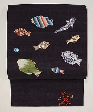 魚コラージュの名古屋帯