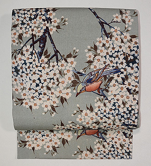 桜にヒヨドリの縮緬名古屋帯