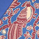 ブルー地 樹木に鳥のバティック名古屋帯 質感・風合